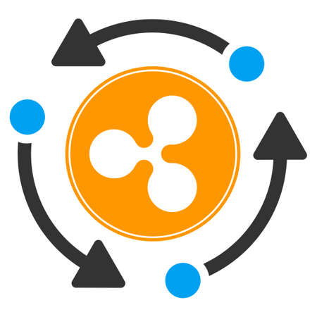 Ripple Turnover flat raster icon. An isolated ripple turnover illustration on a white background.