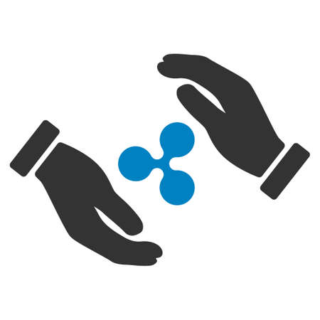 Ripple Insurance Hands flat vector icon. An isolated ripple insurance hands pictogram on a white background.