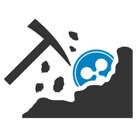 Ripple Mining Rocks flat vector icon. An isolated ripple mining rocks symbol on a white background. 向量圖像