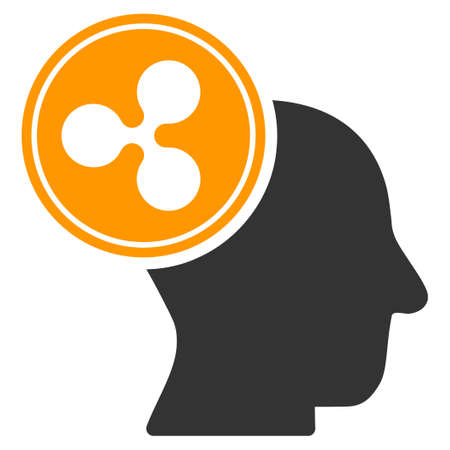 Ripple Thinking Head flat vector icon. An isolated ripple thinking head pictogram on a white background.
