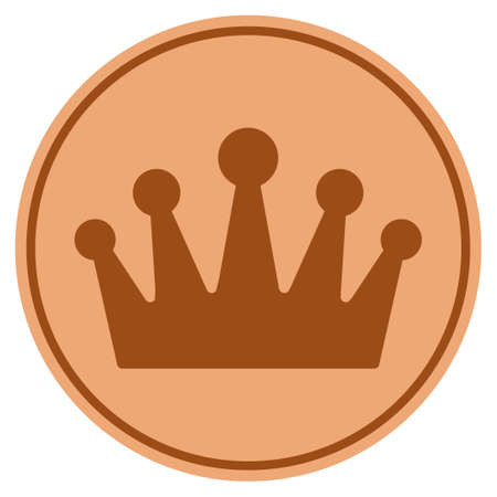 Crown bronze coin icon. Raster style is a copper flat coin symbol.