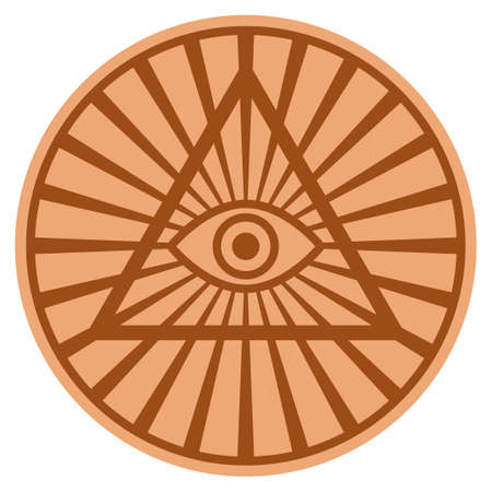 Pyramid Eye bronze coin icon. Raster style is a copper flat coin symbol. Stock Photo
