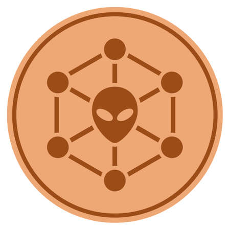 Alien Network bronze coin icon. Raster style is a copper flat coin symbol. Stock Photo