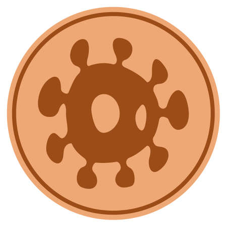 Bacteria bronze coin icon. Raster style is a copper flat coin symbol. Stock Photo