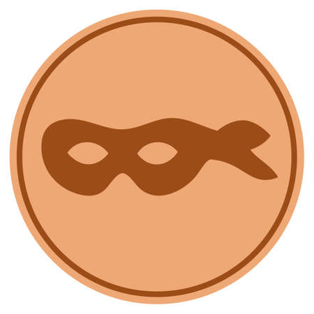 Anonymous Mask bronze coin icon. Raster style is a copper flat coin symbol.