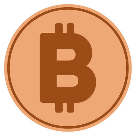Bitcoin bronze coin icon. Raster style is a copper flat coin symbol.