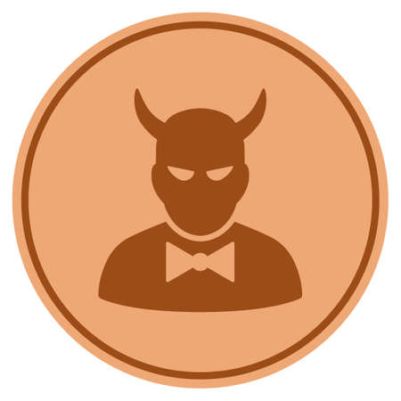 Devil bronze coin icon. Raster style is a copper flat coin symbol. Stock Photo
