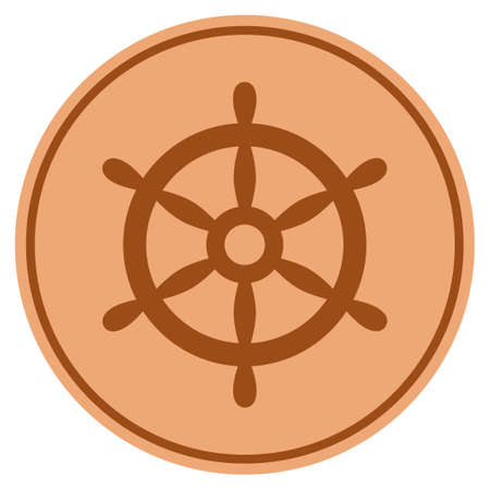 Boat Steering Wheel bronze coin icon. Raster style is a copper flat coin symbol. Stock Photo