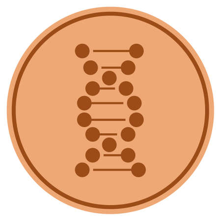 DNA Molecule bronze coin icon. Raster style is a copper flat coin symbol.