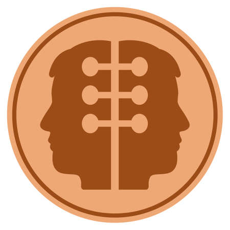 Dual Head Interface bronze coin icon. Raster style is a copper flat coin symbol. Stok Fotoğraf
