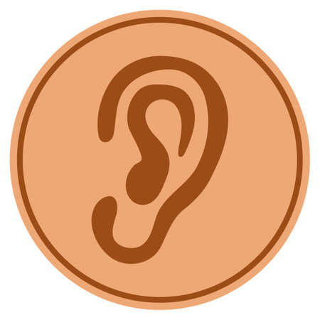 Ear bronze coin icon. Raster style is a copper flat coin symbol.