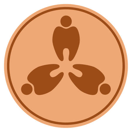 Stomatology bronze coin icon. Raster style is a copper flat coin symbol.