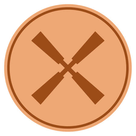 Wind Rotor bronze coin icon. Raster style is a copper flat coin symbol.