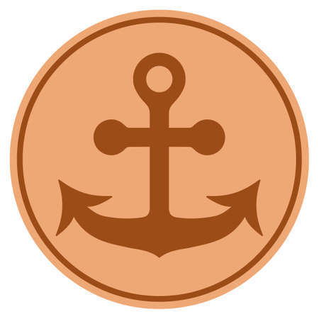 Anchor bronze coin icon. Vector style is a copper flat coin symbol.