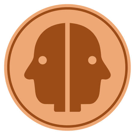 Dual Face bronze coin icon. Vector style is a copper flat coin symbol. Çizim