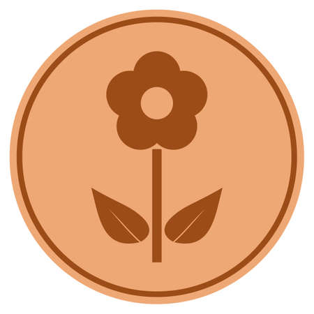 Flower Plant bronze coin icon. Vector style is a copper flat coin symbol. Illustration