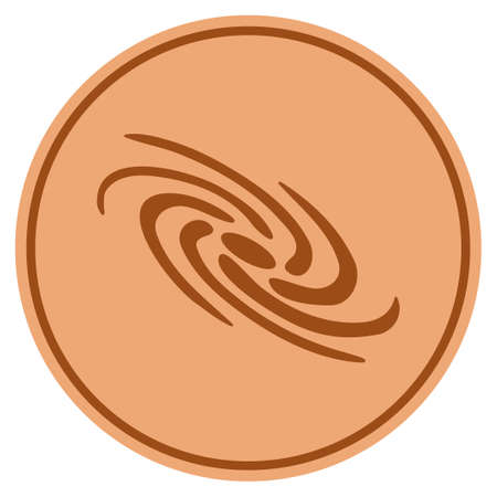 Galaxy bronze coin icon. Vector style is a copper flat coin symbol.