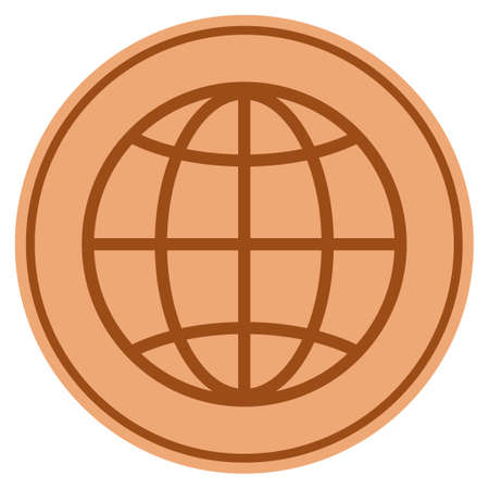 Globe bronze coin icon. Vector style is a copper flat coin symbol.
