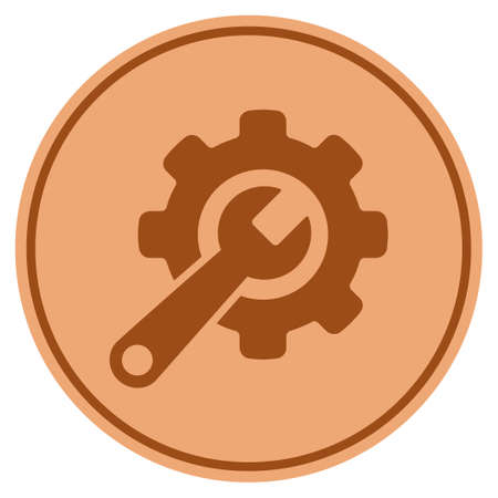 Tools bronze coin icon. Vector style is a copper flat coin symbol.