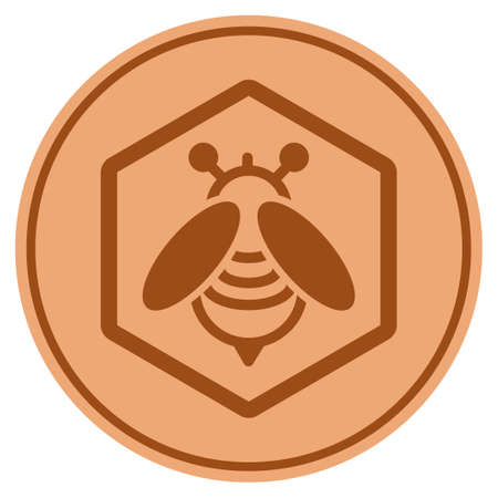 Honey Bee bronze coin icon. Vector style is a copper flat coin symbol. Illustration