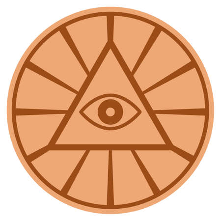 Pyramid Eye bronze coin icon. Vector style is a copper flat coin symbol.