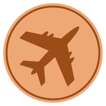 Aircraft bronze coin icon. Vector style is a copper flat coin symbol. Illustration