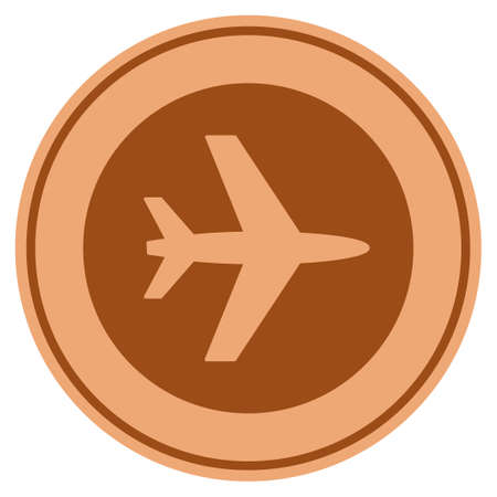 Airport bronze coin icon. Vector style is a copper flat coin symbol.