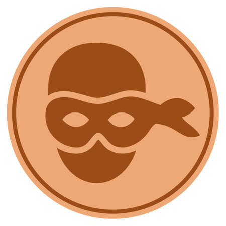 Anonymous Head bronze coin icon. Vector style is a copper flat coin symbol. 向量圖像