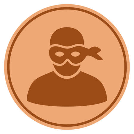 Anonymous Thief bronze coin icon. Vector style is a copper flat coin symbol. Illustration
