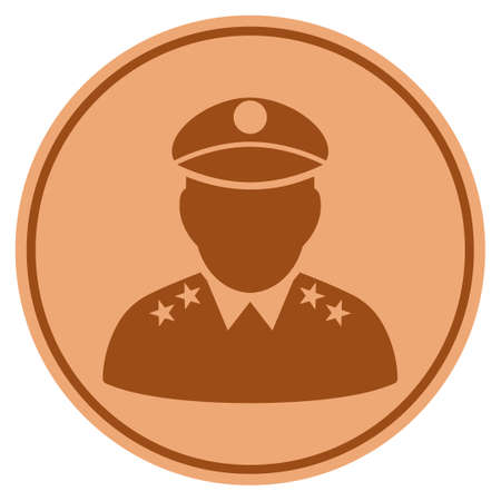 Army General bronze coin icon. Vector style is a copper flat coin symbol.