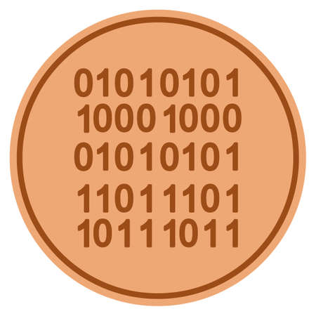 Binary Code bronze coin icon. Vector style is a copper flat coin symbol.