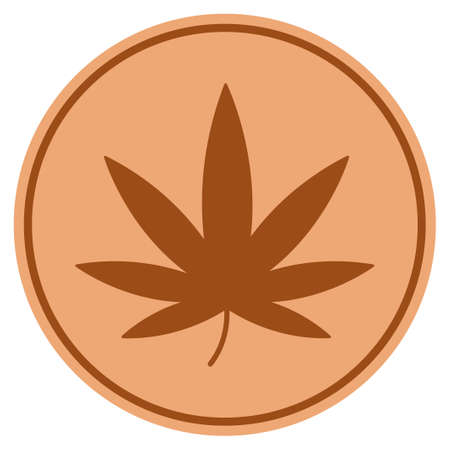 Cannabis bronze coin icon. Vector style is a copper flat coin symbol.