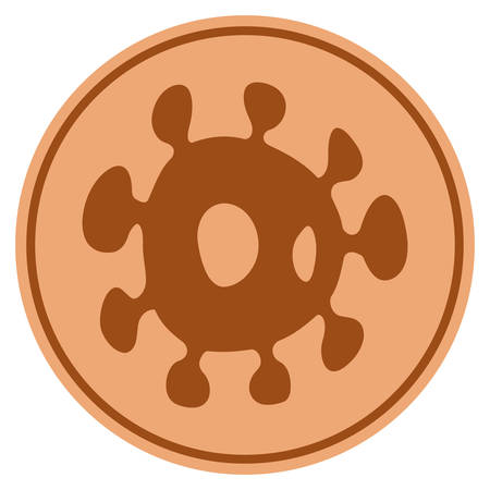 Bacteria bronze coin icon. Vector style is a copper flat coin symbol.