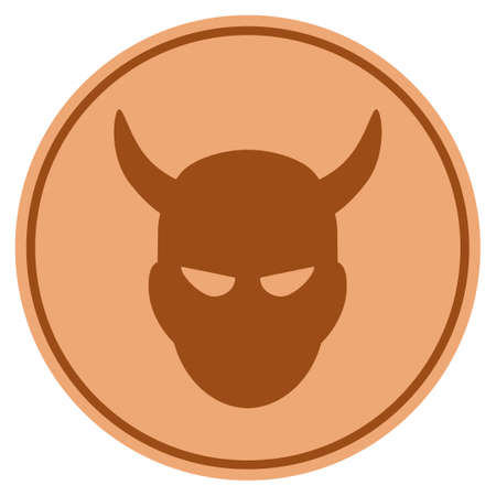 Demon bronze coin icon. Vector style is a copper flat coin symbol.