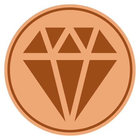 Diamond bronze coin icon. Vector style is a copper flat coin symbol.