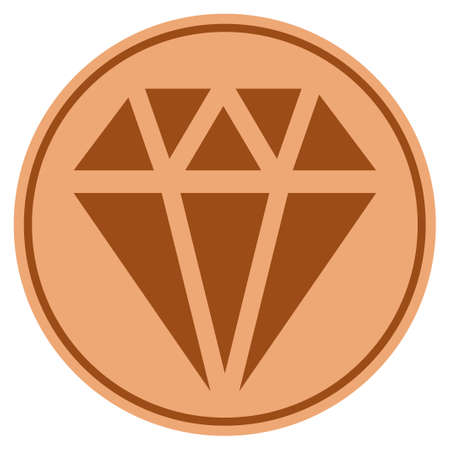 Diamond bronze coin icon. Vector style is a copper flat coin symbol.