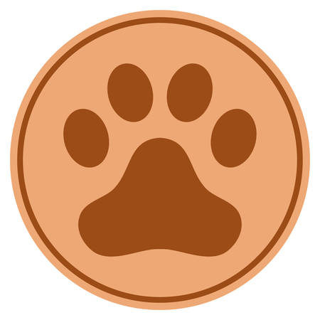 Dog Step bronze coin icon. Vector style is a copper flat coin symbol.