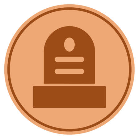 Grave bronze coin icon. Vector style is a copper flat coin symbol.