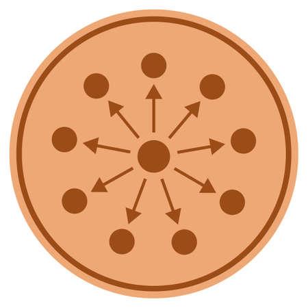 Weite Bronze Münze Symbol. Vektorart ist ein flaches Münzensymbol des Kupfers.