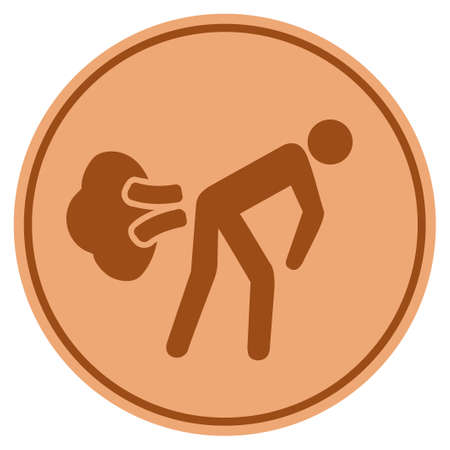Fart Gases bronze coin icon. Vector style is a copper flat coin symbol. Illustration