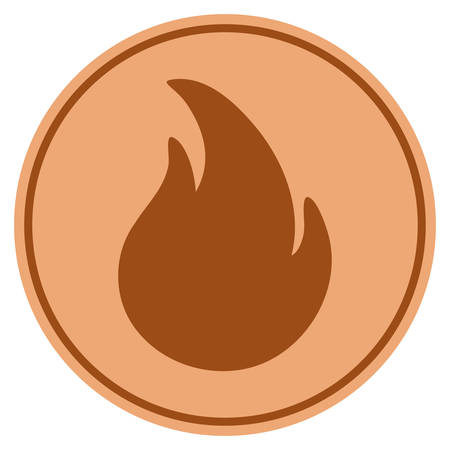 Fire bronze coin icon. Vector style is a copper flat coin symbol. Illustration