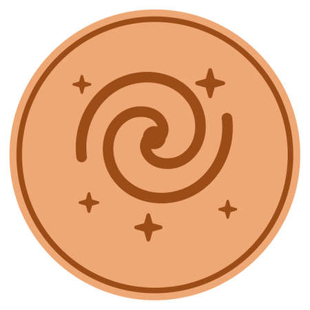 Galaxy Stars bronze coin icon. Vector style is a copper flat coin symbol. Ilustração
