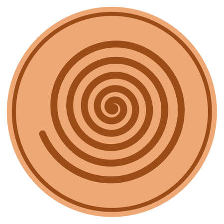 Hypnosis Spiral bronze coin icon. Vector style is a copper flat coin symbol. Illustration