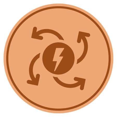 Electric Generator bronze coin icon. Vector style is a copper flat coin symbol.