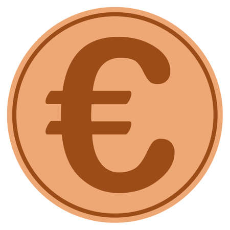Euro Symbol bronze coin icon. Vector style is a copper flat coin symbol.