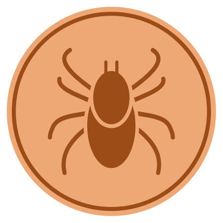 Mite bronze coin icon. Vector style is a copper flat coin symbol.