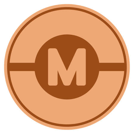 Motor bronze coin icon. Vector style is a copper flat coin symbol. Illustration