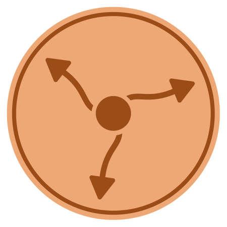 Neutrino Curve Arrows bronze coin icon. Vector style is a copper flat coin symbol. Illustration