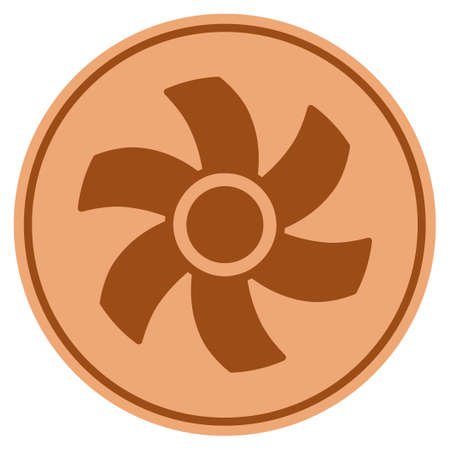 Rotor bronze coin icon. Vector style is a copper flat coin symbol.