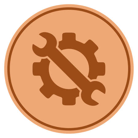 Service tools bronze coin icon. Vector style is a copper flat coin symbol.